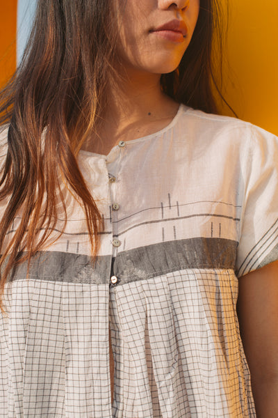 CHECKED A-LINE DRESS, GREY // IVORY - SAAKI