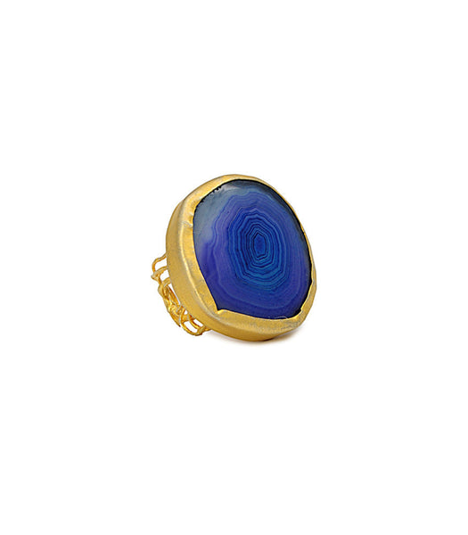 SINGLE STONE BLUE AGATE RING - SAAKI