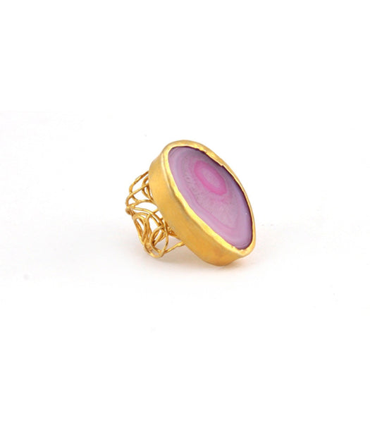 SINGLE STONE PINK AGATE RING - SAAKI