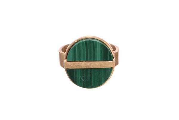 BUTTON STACK RING, MALACHITE//RHODOCHROSITE GARNET - SAAKI