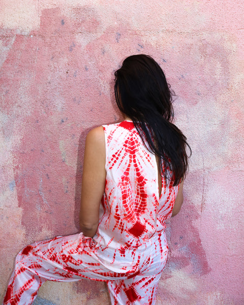 TIE DYE JUMPSUIT, RED - SAAKI
