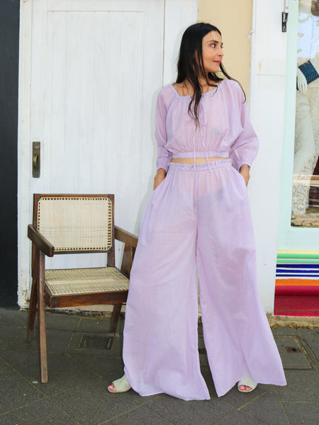 WIDE LEG JASMINE TROUSERS, LILAC