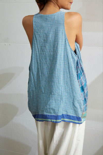 CHECK TANK TOP, BLUE//GREEN - SAAKI