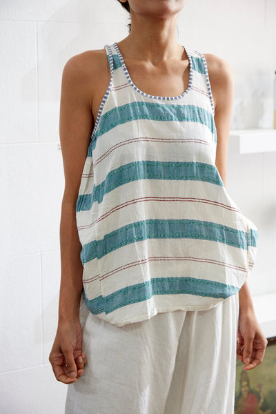 STRIPE STITCH TANK TOP, GREEN // WHITE