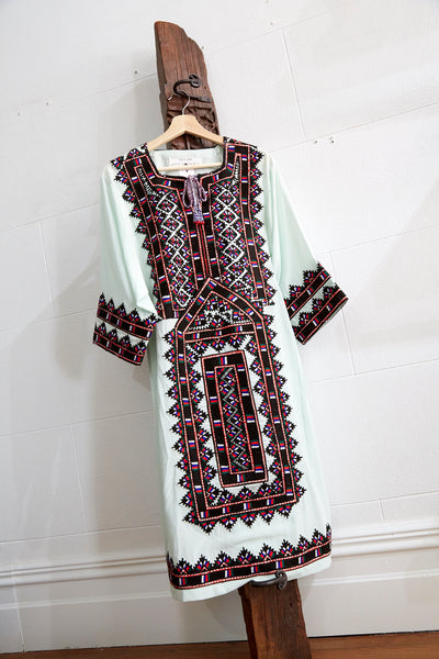 VINTAGE EMBROIDERY CAFTAN-DRESS LONG, MINT/BROWN/RED SILK