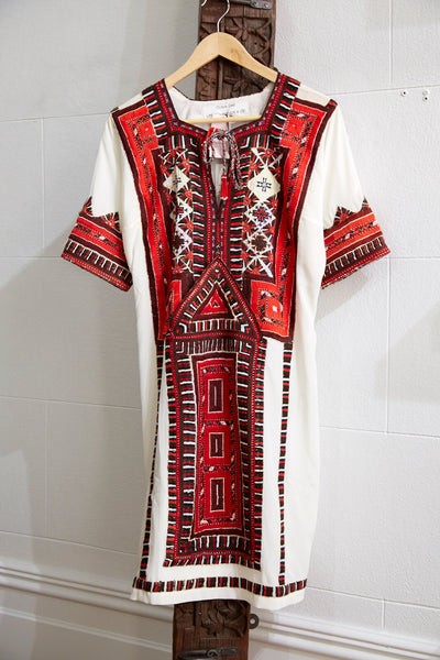 VINTAGE EMBROIDERY DRESS SHORT, IVORY/RED SILK - SAAKI