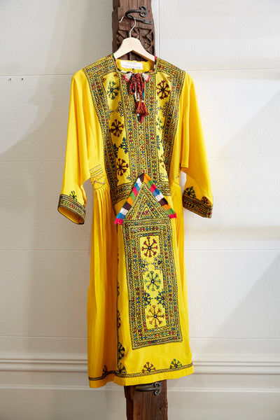 VINTAGE EMBROIDERY CAFTAN-DRESS LONG, YELLOW/BROWN/RED SILK - SAAKI