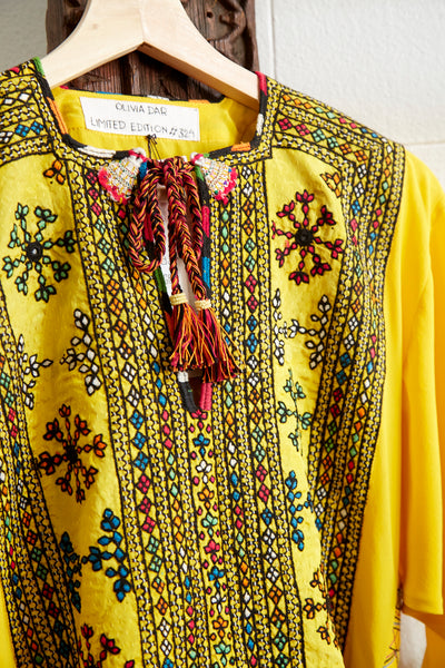 VINTAGE EMBROIDERY CAFTAN-DRESS LONG, YELLOW/BROWN/RED SILK