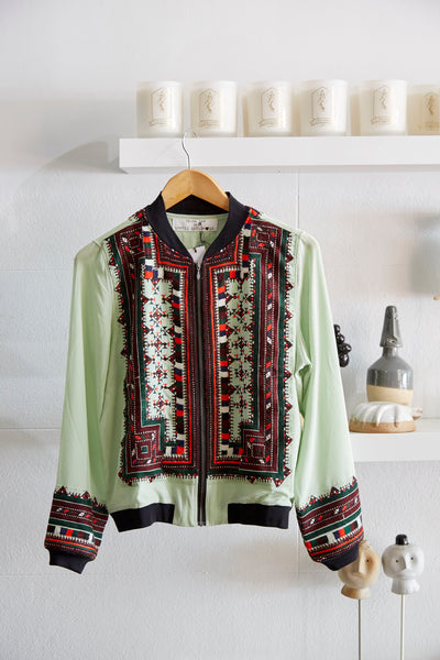 VINTAGE EMBROIDERY BOMBER JACKET, MINT SILK - SAAKI