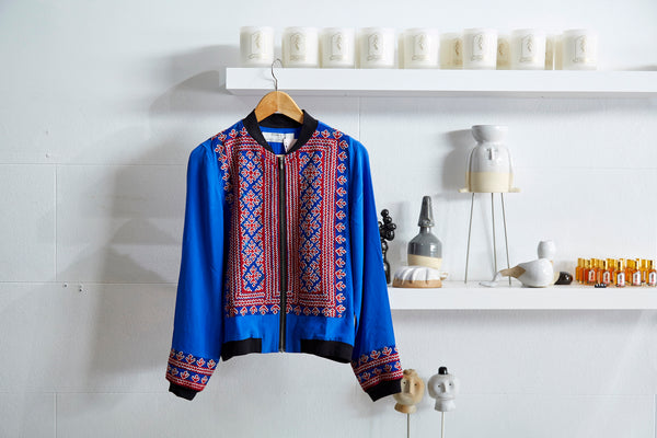 VINTAGE EMBROIDERY BOMBER JACKET, BLUE // RED SILK