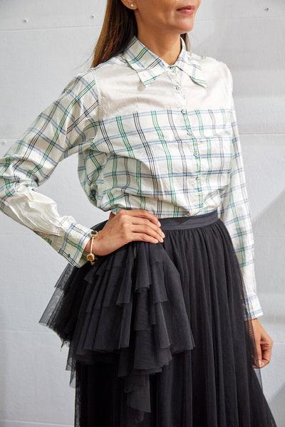 COLLAR SHIRT, GREEN/BLUE/BLACK PLAID - SAAKI