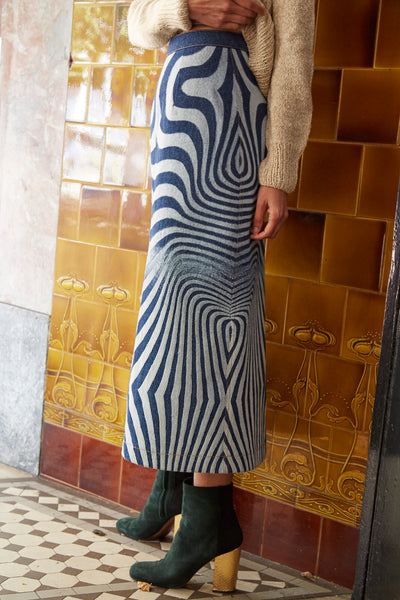 DENIM SKIRT, BLUE OPTICAL ILLUSION - SAAKI