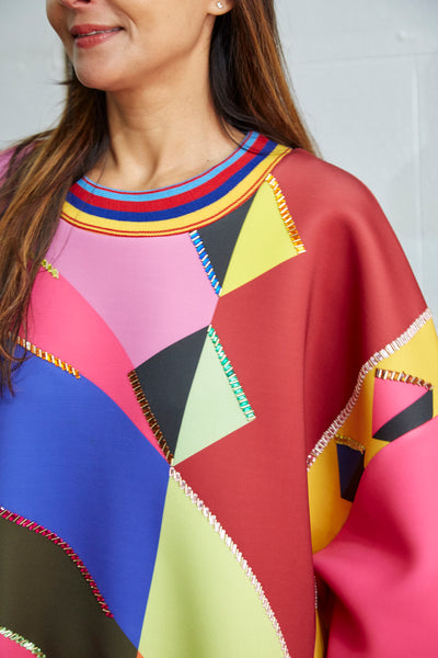 EMBROIDERY SWEATSHIRT, PINK GEOMETRY - SAAKI