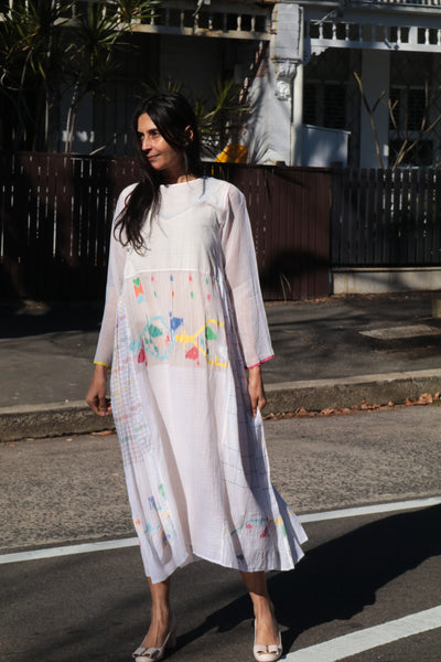 MUSLIN JAMDANI//CHECK DRESS, WHITE - SAAKI