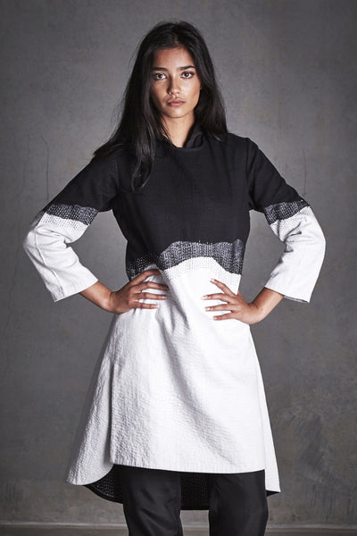PATCHWORK TUNIC DRESS, BLACK & WHITE - SAAKI
