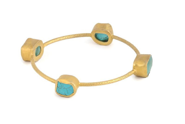STACK ME UP TURQUOISE & BLUE TOPAZ BANGLE - SAAKI