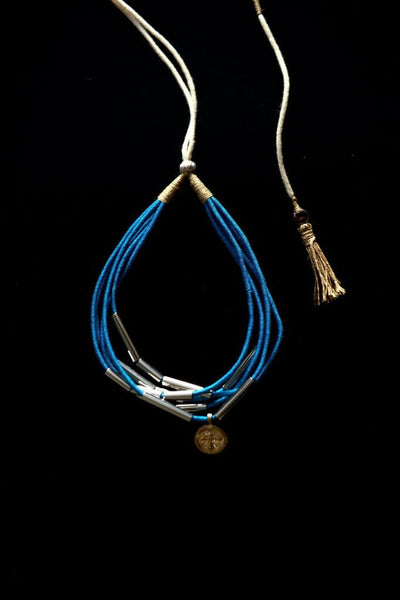 HAND WOVEN COIN NECKPIECE, TURQUOISE, ANTIQUE SILVER & STAINLESS STEEL