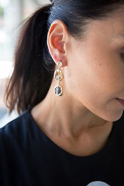 DOUBLE STONE SMOKY TOPAZ AND CITRINE DROP EARRING - SAAKI