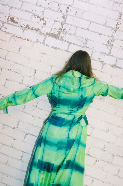 TIE DYE TRENCH, LIME GREEN - SAAKI