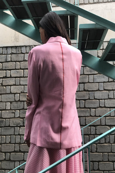 DOUBLE BREASTED WOVEN BLAZER, PINK WAFFLE - SAAKI