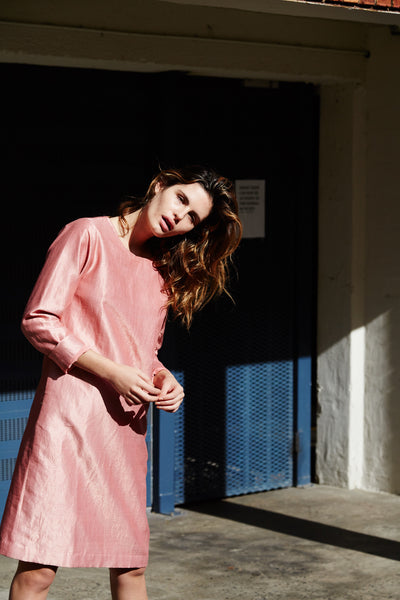 HAND WOVEN SILK, COTTON & ZARI OVERSIZED TUNIC DRESS, PINK - SAAKI