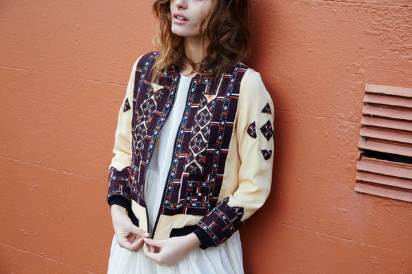 VINTAGE EMBROIDERY BOMBER JACKET, LIME YELLOW SILK - SAAKI