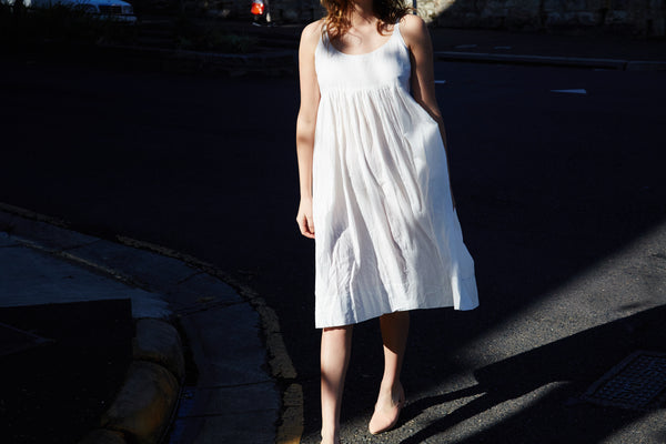 CHEMISE SLIP DRESS, WHITE COTTON - SAAKI