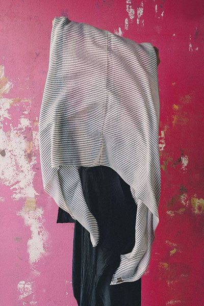 100% CASHMERE STRIPES, BLACK & IVORY - SAAKI