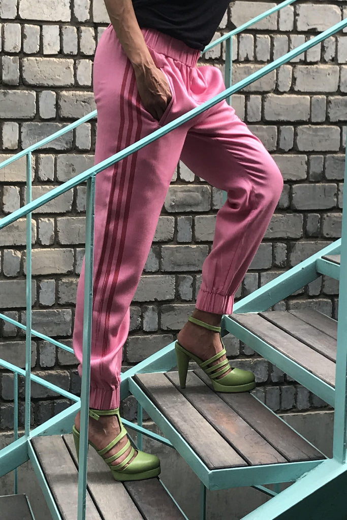 TRACKPANT WITH CONTRAST WOVEN IKAT STRIPE, PINK - SAAKI