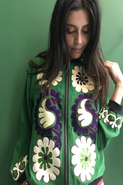 VINTAGE EMBROIDERY SUZANNE BOMBER, GREEN SILK - SAAKI