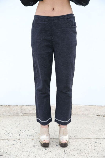 KHADI TROUSERS, BLACK HANDWOVEN - SAAKI