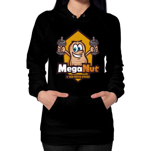 Hoodie (on woman) Black MegaNut