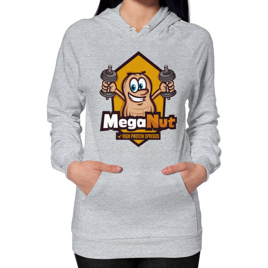 Hoodie (on woman) Heather grey MegaNut