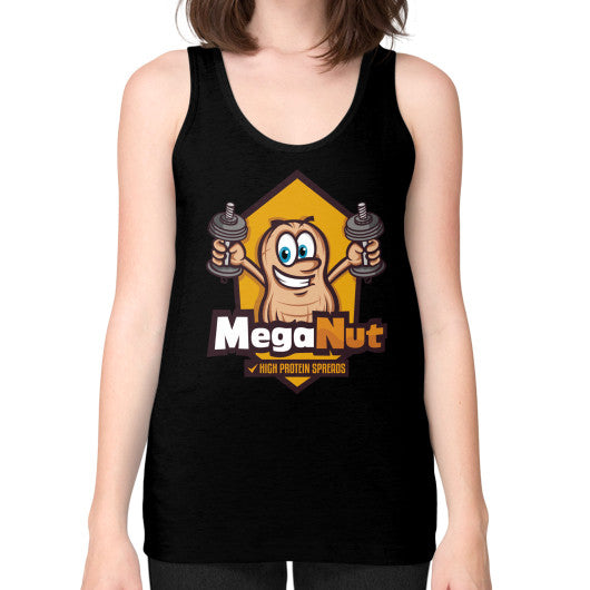 Unisex Fine Jersey Tank (on woman) Black MegaNut