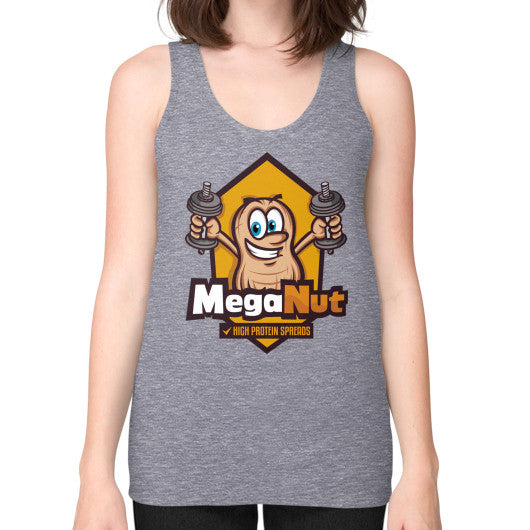 Unisex Fine Jersey Tank (on woman) Tri-Blend Grey MegaNut