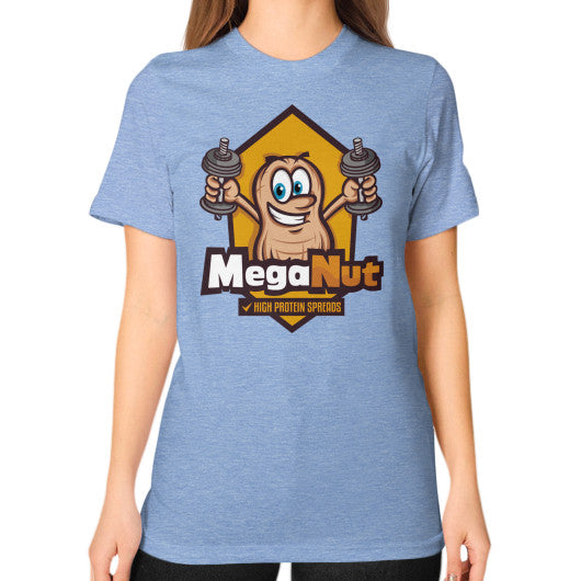 Unisex T-Shirt (on woman) Tri-Blend Blue MegaNut