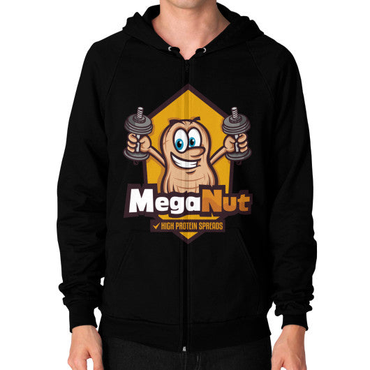 Zip Hoodie (on man) Black MegaNut