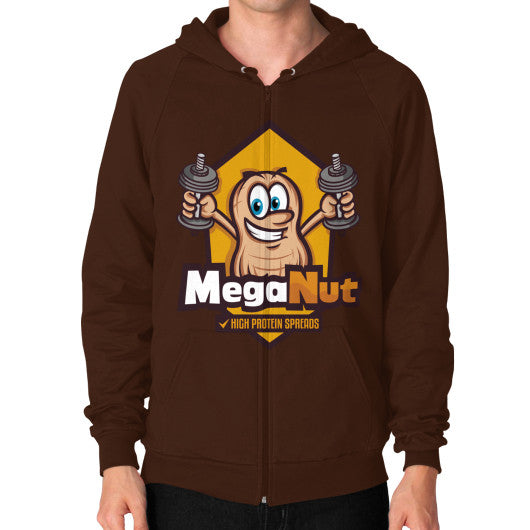 Zip Hoodie (on man) Brown MegaNut