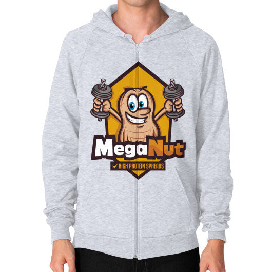 Zip Hoodie (on man) Heather grey MegaNut