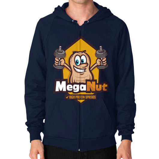 Zip Hoodie (on man) Navy MegaNut
