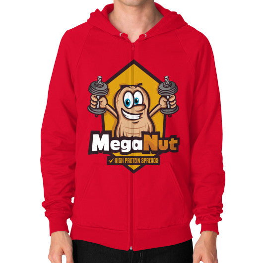 Zip Hoodie (on man) Red MegaNut