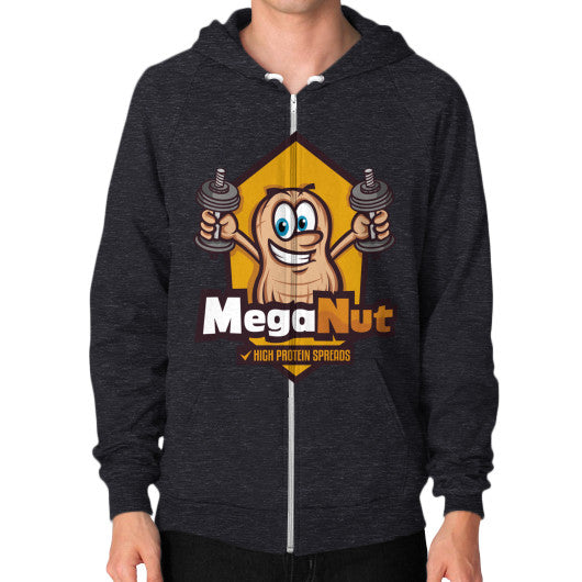 Zip Hoodie (on man) Tri-Blend Black MegaNut