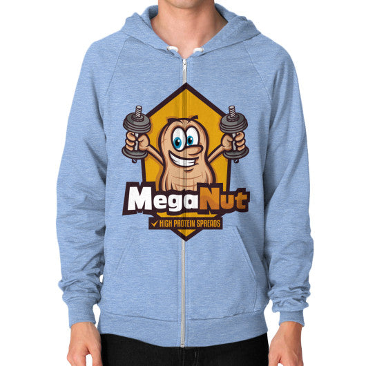 Zip Hoodie (on man) Tri-Blend Blue MegaNut