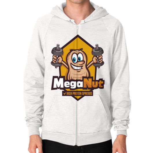 Zip Hoodie (on man) Tri-Blend Oatmeal MegaNut