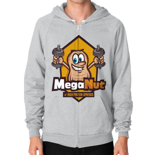 Zip Hoodie (on man) Tri-Blend Silver MegaNut