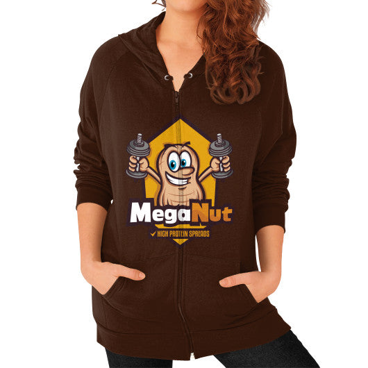 Zip Hoodie (on woman) Brown MegaNut
