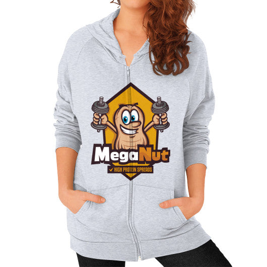 Zip Hoodie (on woman) Heather grey MegaNut