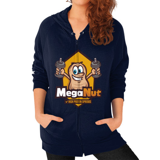 Zip Hoodie (on woman) Navy MegaNut