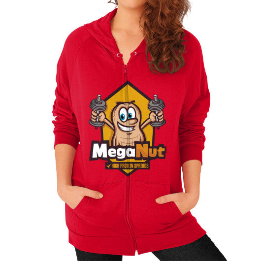 Zip Hoodie (on woman) Red MegaNut