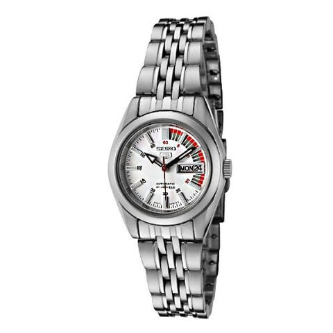 Women's Stainless Steel Seiko 5 Automatic Dress Watch White Dial